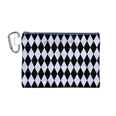 Diamond1 Black Marble & White Marble Canvas Cosmetic Bag (medium) by trendistuff