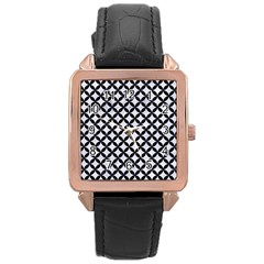 Circles3 Black Marble & White Marble (r) Rose Gold Leather Watch  by trendistuff