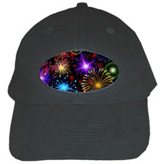 Celebration Fireworks In Red Blue Yellow And Green Color Black Cap by Onesevenart