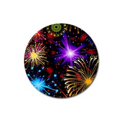Celebration Fireworks In Red Blue Yellow And Green Color Magnet 3  (round)