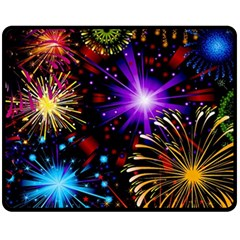 Celebration Fireworks In Red Blue Yellow And Green Color Fleece Blanket (medium)  by Onesevenart