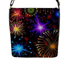 Celebration Fireworks In Red Blue Yellow And Green Color Flap Messenger Bag (l)  by Onesevenart