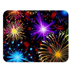 Celebration Fireworks In Red Blue Yellow And Green Color Double Sided Flano Blanket (large)  by Onesevenart