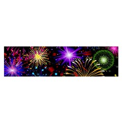 Celebration Fireworks In Red Blue Yellow And Green Color Satin Scarf (oblong) by Onesevenart