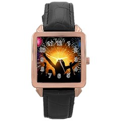 Celebration Night Sky With Fireworks In Various Colors Rose Gold Leather Watch  by Onesevenart