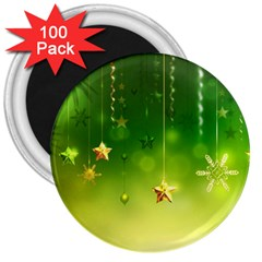 Christmas Green Background Stars Snowflakes Decorative Ornaments Pictures 3  Magnets (100 Pack) by Onesevenart