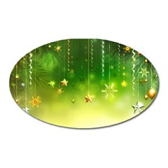 Christmas Green Background Stars Snowflakes Decorative Ornaments Pictures Oval Magnet by Onesevenart