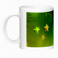 Christmas Green Background Stars Snowflakes Decorative Ornaments Pictures Night Luminous Mugs by Onesevenart