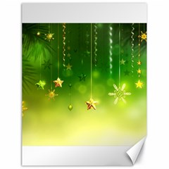 Christmas Green Background Stars Snowflakes Decorative Ornaments Pictures Canvas 18  x 24   by Onesevenart