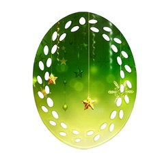 Christmas Green Background Stars Snowflakes Decorative Ornaments Pictures Oval Filigree Ornament (two Sides) by Onesevenart