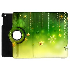 Christmas Green Background Stars Snowflakes Decorative Ornaments Pictures Apple Ipad Mini Flip 360 Case by Onesevenart