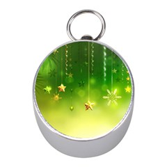 Christmas Green Background Stars Snowflakes Decorative Ornaments Pictures Mini Silver Compasses by Onesevenart