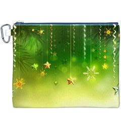 Christmas Green Background Stars Snowflakes Decorative Ornaments Pictures Canvas Cosmetic Bag (xxxl) by Onesevenart