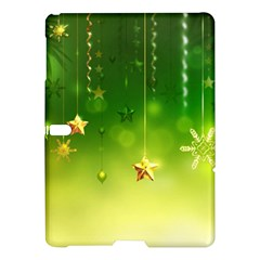 Christmas Green Background Stars Snowflakes Decorative Ornaments Pictures Samsung Galaxy Tab S (10 5 ) Hardshell Case  by Onesevenart