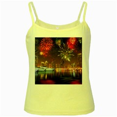 Christmas Night In Dubai Holidays City Skyscrapers At Night The Sky Fireworks Uae Yellow Spaghetti Tank by Onesevenart