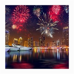 Christmas Night In Dubai Holidays City Skyscrapers At Night The Sky Fireworks Uae Medium Glasses Cloth (2 Side) by Onesevenart