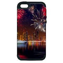 Christmas Night In Dubai Holidays City Skyscrapers At Night The Sky Fireworks Uae Apple Iphone 5 Hardshell Case (pc+silicone) by Onesevenart