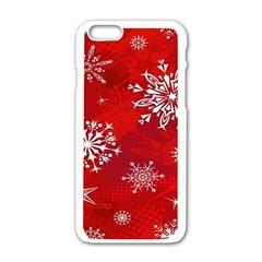 Christmas Pattern Apple Iphone 6/6s White Enamel Case by Onesevenart