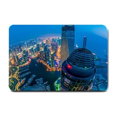 City Dubai Photograph From The Top Of Skyscrapers United Arab Emirates Small Doormat  by Onesevenart