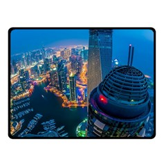 City Dubai Photograph From The Top Of Skyscrapers United Arab Emirates Fleece Blanket (small) by Onesevenart