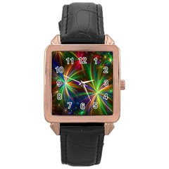 Colorful Firework Celebration Graphics Rose Gold Leather Watch  by Onesevenart