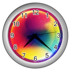 Colorful Glowing Wall Clocks (Silver)  by Onesevenart
