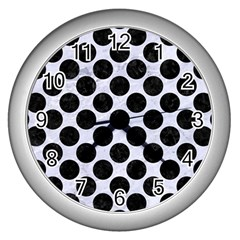 Circles2 Black Marble & White Marble (r) Wall Clock (silver) by trendistuff