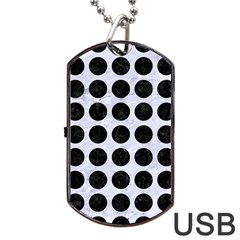 Circles1 Black Marble & White Marble (r) Dog Tag Usb Flash (two Sides) by trendistuff