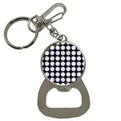 Circles1 Black Marble & White Marble Bottle Opener Key Chain by trendistuff