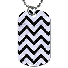 Chevron9 Black Marble & White Marble (r) Dog Tag (two Sides) by trendistuff