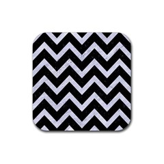 Chevron9 Black Marble & White Marble Rubber Square Coaster (4 Pack) by trendistuff