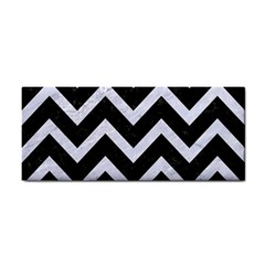 Chevron9 Black Marble & White Marble Hand Towel by trendistuff