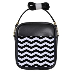 Chevron3 Black Marble & White Marble Girls Sling Bag by trendistuff