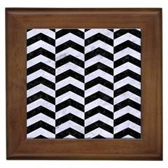 Chevron2 Black Marble & White Marble Framed Tile by trendistuff