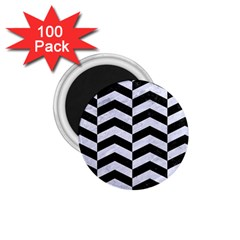 Chevron2 Black Marble & White Marble 1 75  Magnet (100 Pack)  by trendistuff