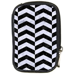 Chevron2 Black Marble & White Marble Compact Camera Leather Case by trendistuff