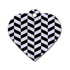Chevron1 Black Marble & White Marble Dog Tag Heart (one Side) by trendistuff