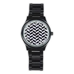 Chevron1 Black Marble & White Marble Stainless Steel Round Watch by trendistuff