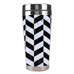Chevron1 Black Marble & White Marble Stainless Steel Travel Tumbler by trendistuff