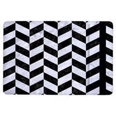 Chevron1 Black Marble & White Marble Apple Ipad Air Flip Case by trendistuff
