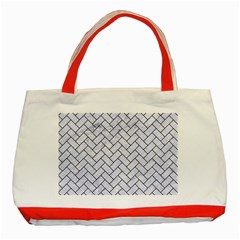Brick2 Black Marble & White Marble (r) Classic Tote Bag (red) by trendistuff