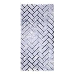 Brick2 Black Marble & White Marble (r) Shower Curtain 36  X 72  (stall) by trendistuff