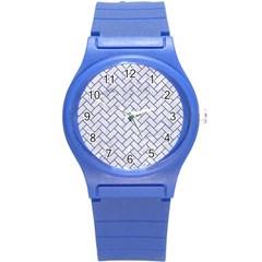 Brick2 Black Marble & White Marble (r) Round Plastic Sport Watch (s)