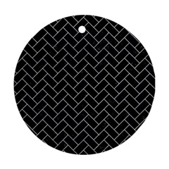 Brick2 Black Marble & White Marble Ornament (round) by trendistuff