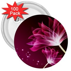 Drawing Flowers Lotus 3  Buttons (100 Pack)  by Onesevenart