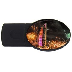 Dubai Burj Al Arab Hotels New Years Eve Celebration Fireworks Usb Flash Drive Oval (4 Gb) by Onesevenart