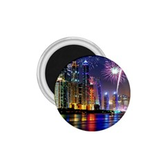 Dubai City At Night Christmas Holidays Fireworks In The Sky Skyscrapers United Arab Emirates 1 75  Magnets by Onesevenart