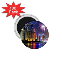 Dubai City At Night Christmas Holidays Fireworks In The Sky Skyscrapers United Arab Emirates 1 75  Magnets (100 Pack)  by Onesevenart