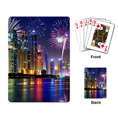 Dubai City At Night Christmas Holidays Fireworks In The Sky Skyscrapers United Arab Emirates Playing Card by Onesevenart