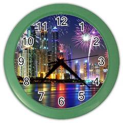 Dubai City At Night Christmas Holidays Fireworks In The Sky Skyscrapers United Arab Emirates Color Wall Clocks by Onesevenart